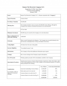 Jobs Act SEC RegD 506c Term Sheet